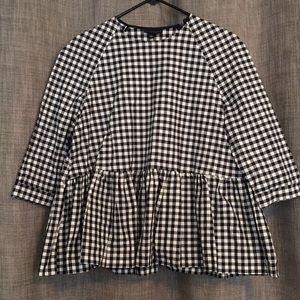 Gingham peplum blouse
